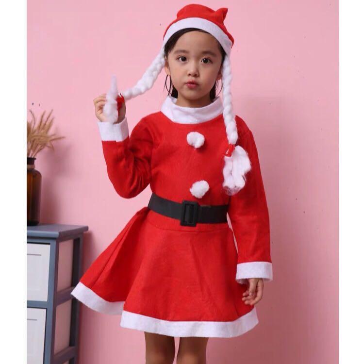 🎄Christmas Santa Claus Aged 4-6 Girl Costume Dress Long Sleeve Non Woven Party 圣诞女童套装