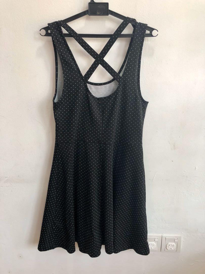 Cute crossed back polka dot skater dress