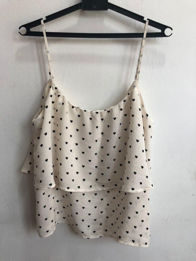 Cute heart shape print strap tank
