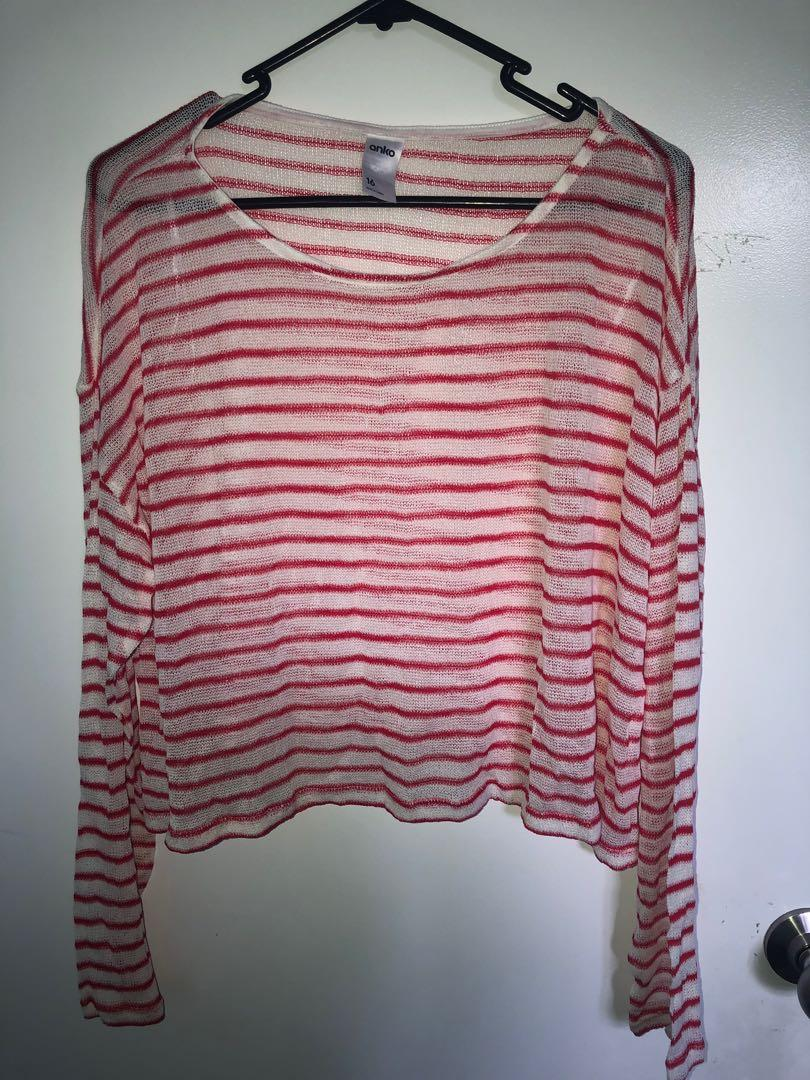 Girls red and white top