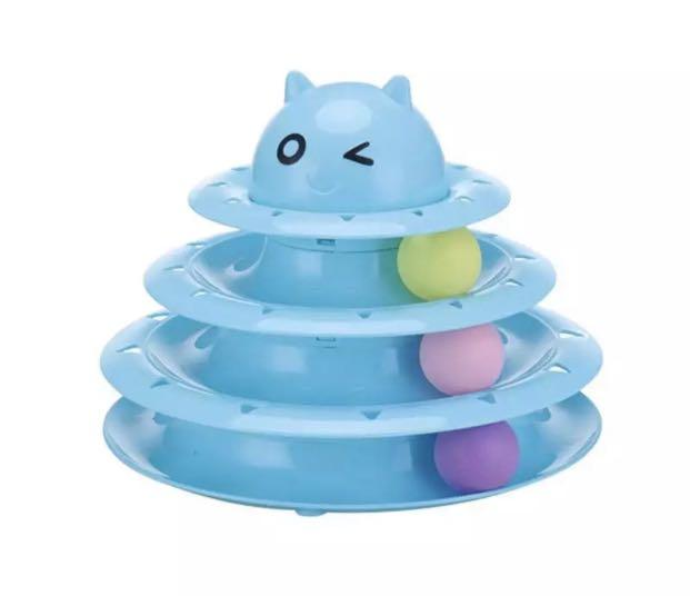 Detachable Interactive 3 level turntable cat toy with 3 colourful balls