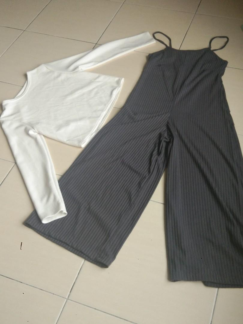 Jumpsuit (Grey n White)