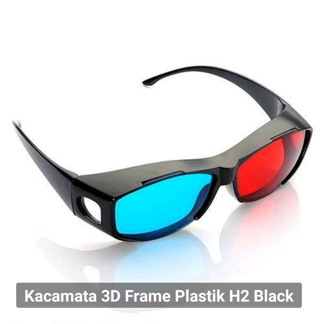 Kacamata 3D Frame Plastik H2 Black