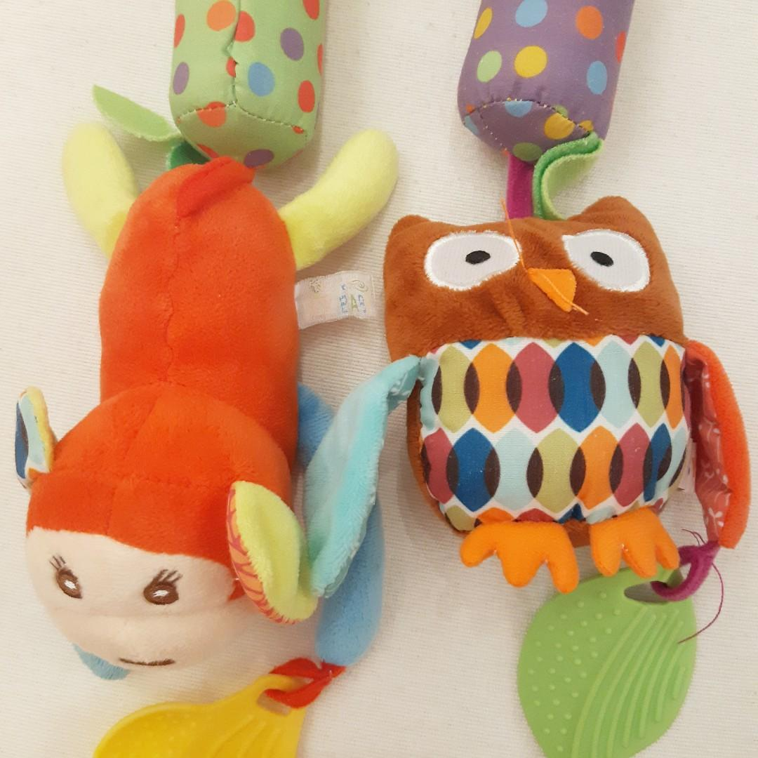Owl and Monkey Baby Crib Musical Rattle