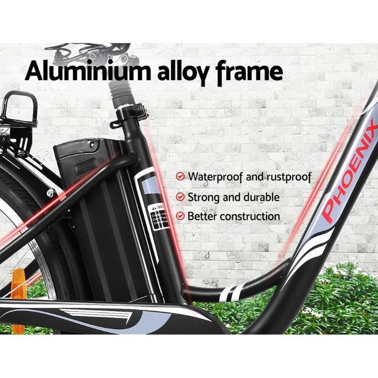 Phoenix 26″ Electric Bike eBike e-Bike Bicycle City Battery Motorized with Basket Black