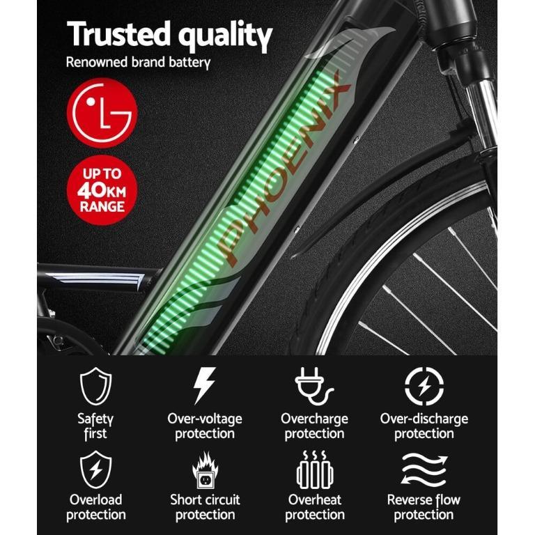 "Phoenix 26"" Electric Bike eBike e-Bike Mountain Bicycle City Battery Motorized Black"