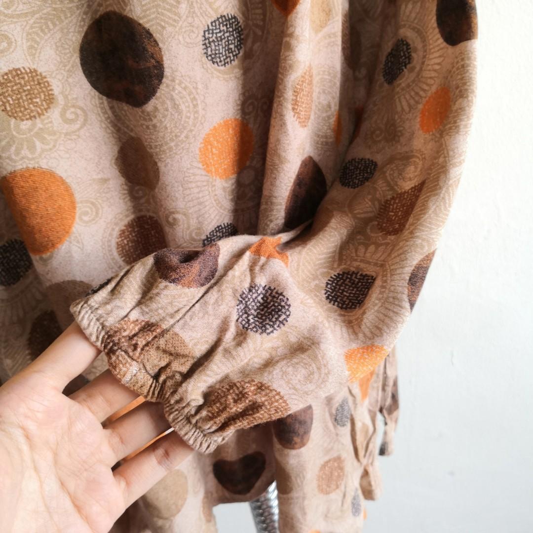 Plus Size Brown Polkadot Long Sleeve Blouse