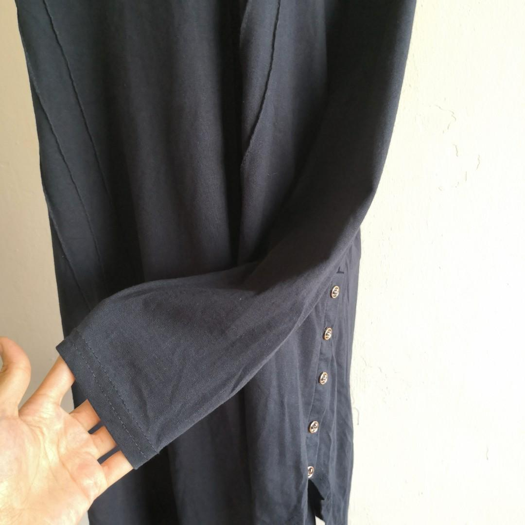 Plus Size Dark Blue Long Sleeve Blouse