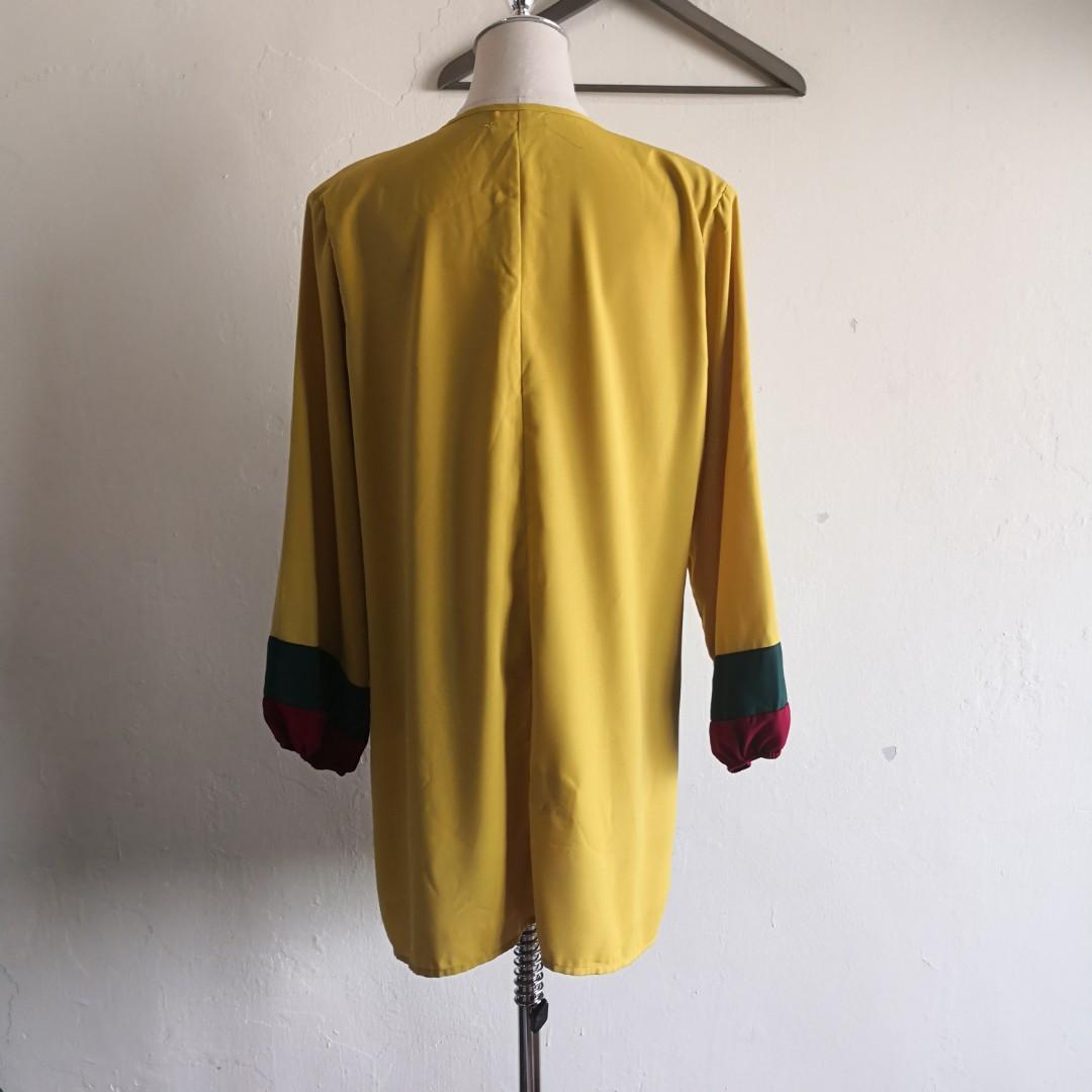 Plus Size Front Zip Mustard Long Sleeve Blouse