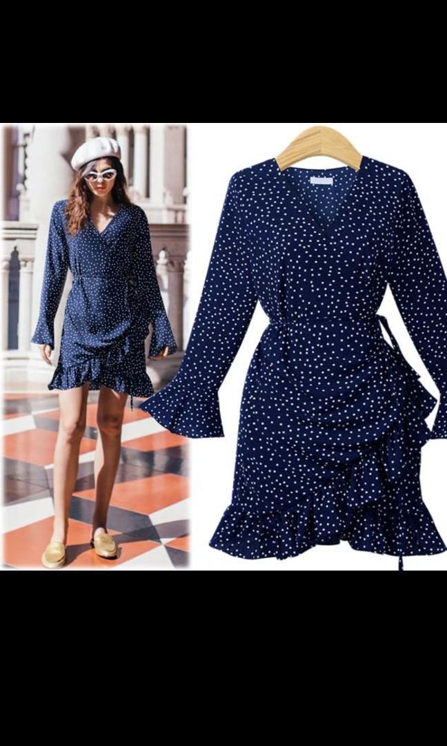 Polka Dot Wrap Dress in Blue (new)