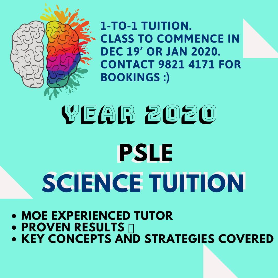 PSLE SCIENCE TUITION - 2020