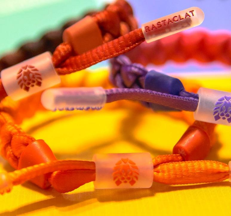 Rastaclat Fired Edges / Equals / Sunset Drops / Full Bright Men's Braided Bracelet with Translucent Silicone Hardware