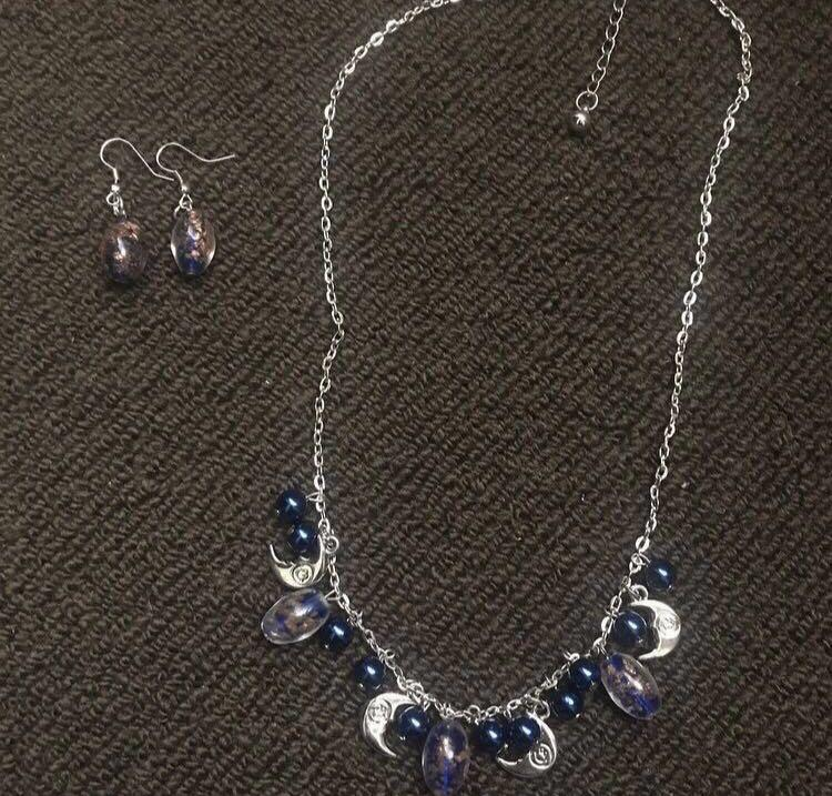 *REDUCED* Matching Blue Moon Necklace And Earrings