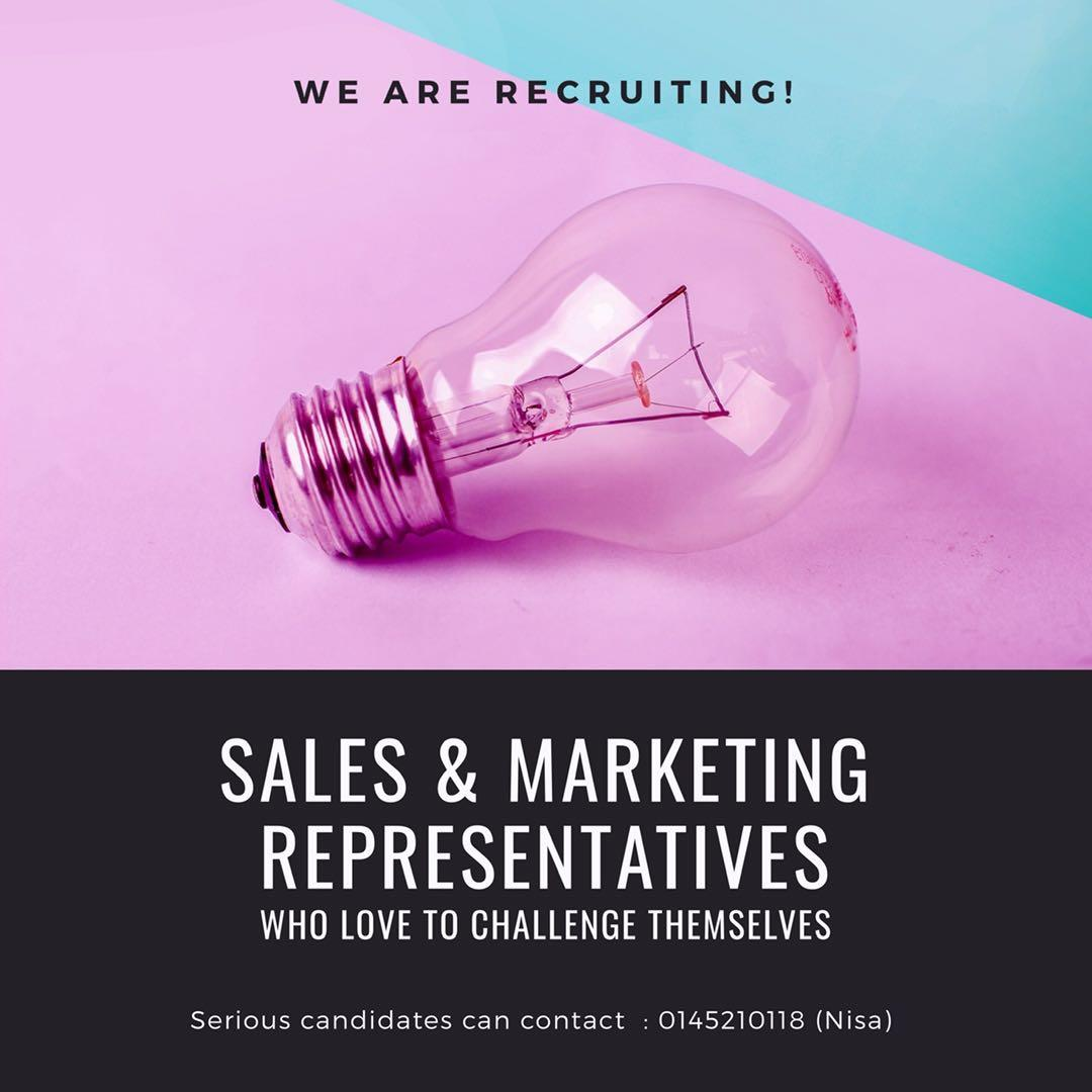 We Are Recruiting : Sales and Marketing Representatives