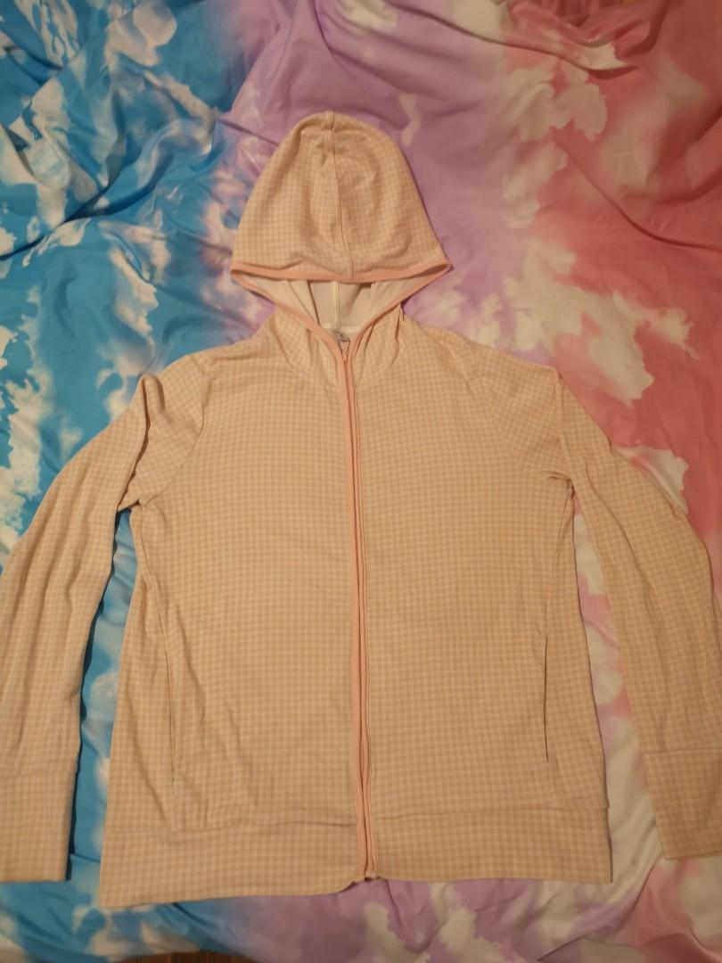 Uniqlo Pink and White Gingham Checkered Hoodie Jacket