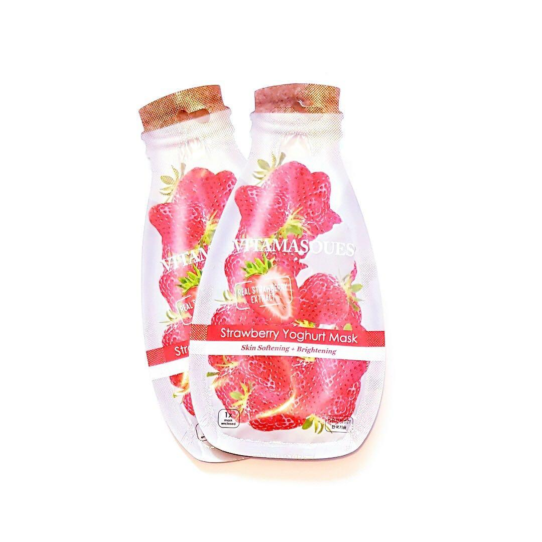 Vitamasque Real Strawberry Extract Skin Softening & Brightening Korean Technology Strawberry Yoghurt Facial Face Mask
