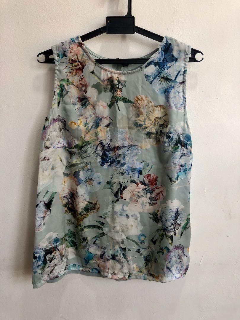 Warehouse satin floral print tank