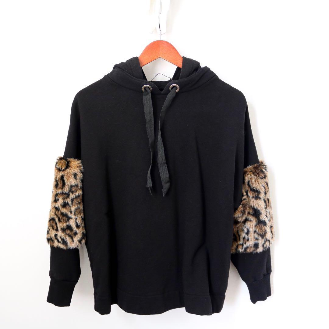 Zara Black Hoodie with Cheetah Faux Fur Sleeves