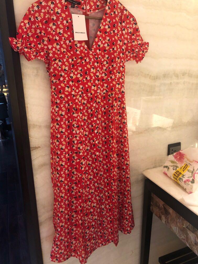 Zara lookalike red floral dress