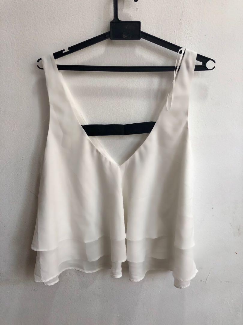 Zara white cropped flare blouse