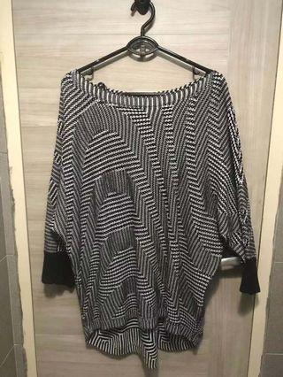 黑白雙色設計款兩穿寬鬆休閒音波紋薄針織斜肩修身上衣