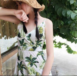 可愛鳳梨 棉麻細肩帶洋裝