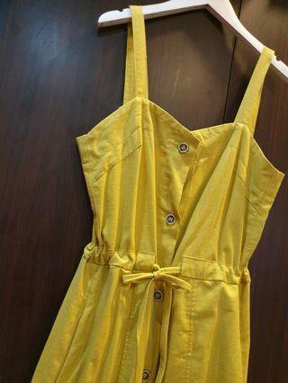 可愛芥末黃 森林系棉麻洋裝