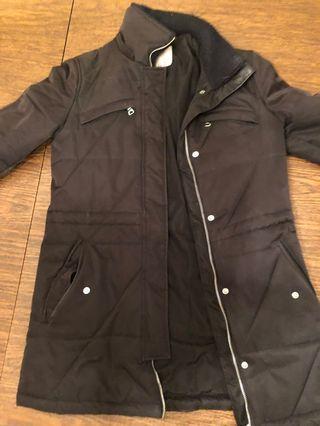 Black XS Zara Long Winter Jacket