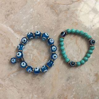 Bundle Turquoise and Blue Eye Evil Bracelet