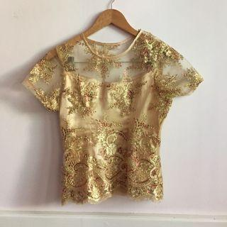 Gold Sequin Semi Kebaya