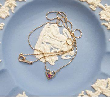 日本輕珠寶~K10黃K金小米粒愛心小紅寶石項鍊 套鍊 10K