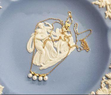 日本輕珠寶~JUPITER K18 黃K金珍珠項鍊 18K