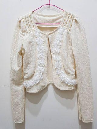 珍珠花瓣晚宴公主袖抓皺短版小外套