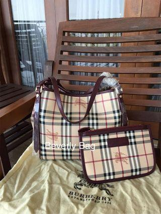 Jual Tas Bag Burberry Dual Tote LEATHER MIRROR QUALITY - Marun