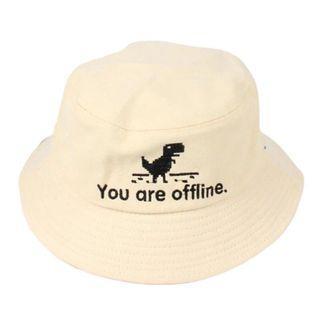 #1111special NEW Caps Panama Fishing Bucket Hat Error Page Dinosaur Unisex Beige Krem No Internet Offline Topi Broken white Cream