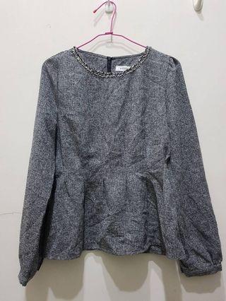 gunny girls氣質灰色縮腰上衣 made in korec