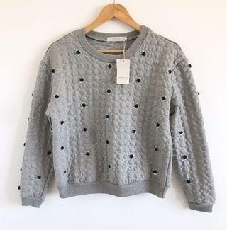 專櫃品牌 Joan bis 重磅厚針織棉立體串珠上衣 原價3980$