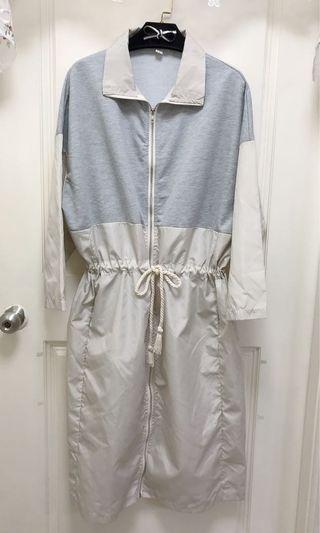 9.5成新/棉質拼接防風、防水布洋裝亦可當長版外套/XL內可穿寬鬆