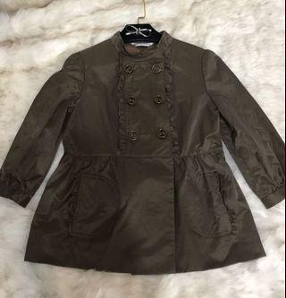 Marie daire歐美品牌/9.5成新/適F/尼龍荷葉滾邊橄欖綠短版外套