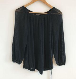 專櫃品牌 Joan 透膚薄針織綁帶上衣