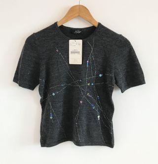 專櫃品牌 Joan 羊毛亮片造型針織毛衣 原價2280$