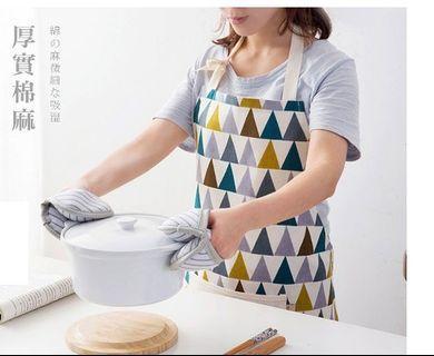 朵拉媽咪【現貨】北歐風 工作 圍裙 廚房圍裙 烘焙圍裙  棉麻圍裙 格子 條紋 日式圍裙 防油 防水 圍裙