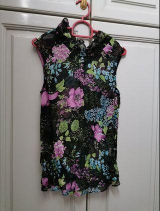 💯 🆕 Metrojaya Elegant Floral Sheer Blouse / Top