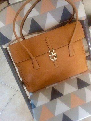 Salvatore Ferragamo Mustard Leather Gancini Shoulder Bag