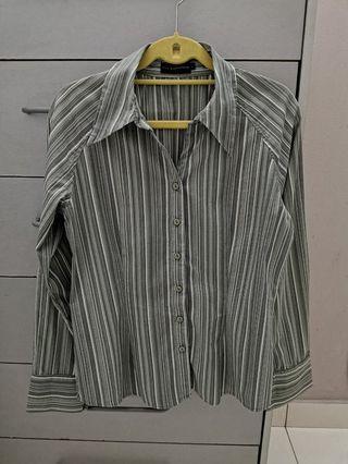 💯 The Executive Women Grey Stripe Office Shirt / Kemeja
