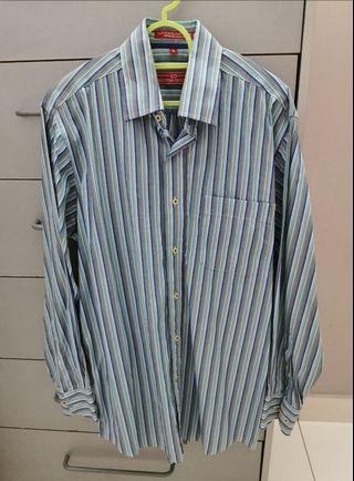 💯 Valentino Creations Blue Stripe Men's Shirt / Kemeja