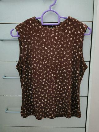 Brown Floral Sleeveless Blouse / Top