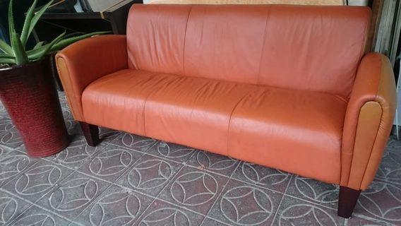 【健利傢俱行】三人小沙發 皮沙發 仿舊復古 二手三人沙發 中古三人沙發