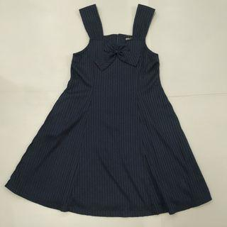 Navy color STRIPES KNOT DRESS IN Navy