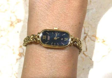 Authentic vintage CITIZEN ladies watch, plated 18 k gold